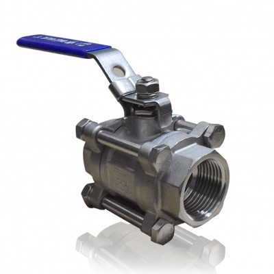 VTV 3 PC Body Ball Valve, SS316, Screw end to 2000 WOG, 1.5""