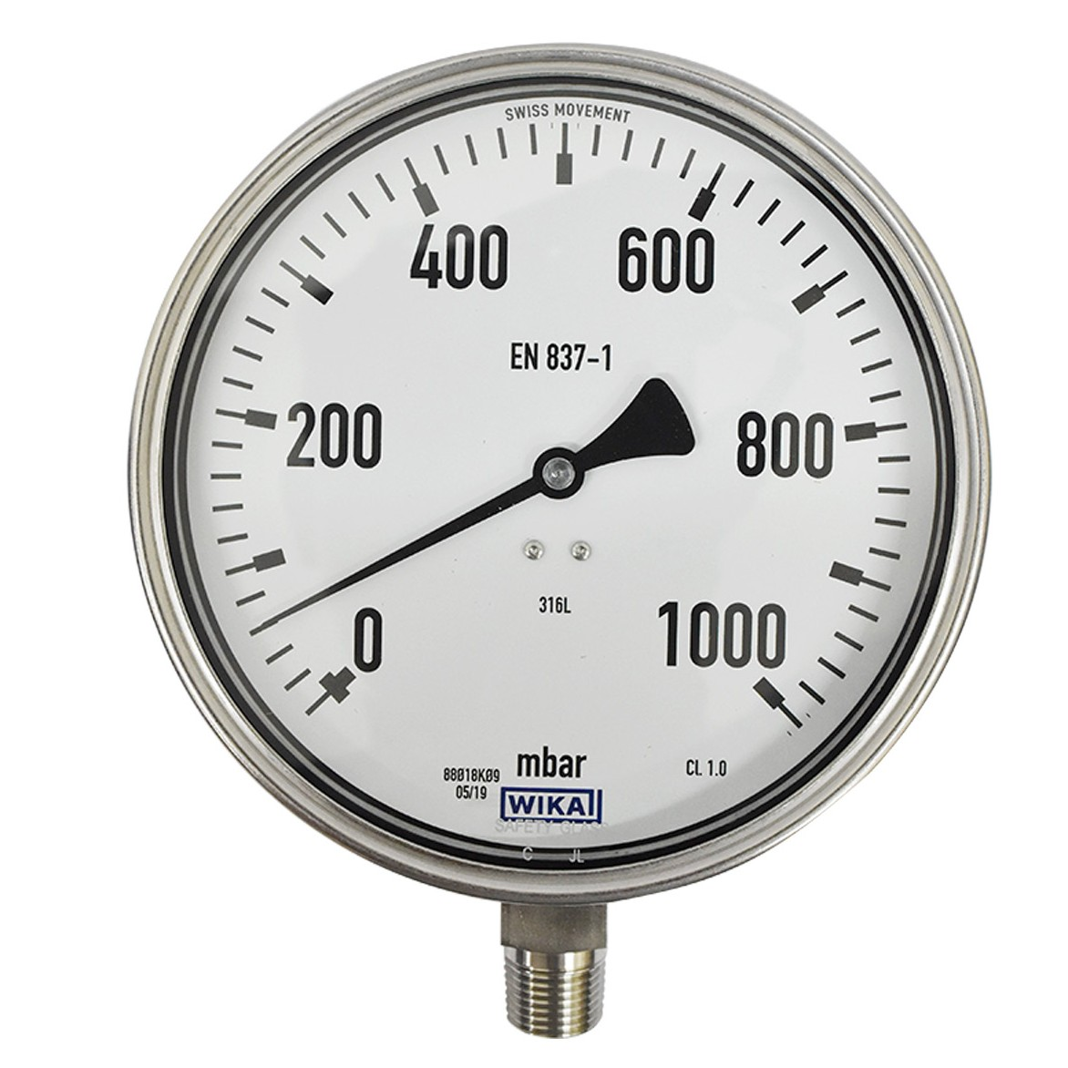"WIKA Pressure Gauge 6"" ( 0 to 1000 Mbar )"